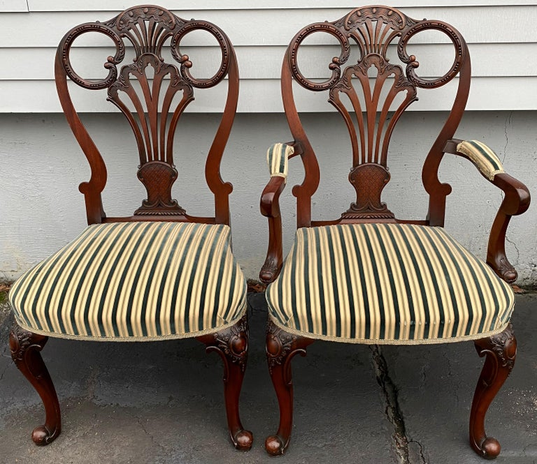 Hand-Crafted Set of Twelve Italian Custom Mahogany Queen Anne Style Upholstered Dining Chairs For Sale