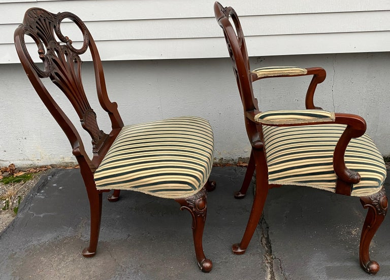Set of Twelve Italian Custom Mahogany Queen Anne Style Upholstered Dining Chairs In Good Condition For Sale In Milford, NH