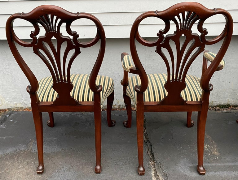 20th Century Set of Twelve Italian Custom Mahogany Queen Anne Style Upholstered Dining Chairs For Sale