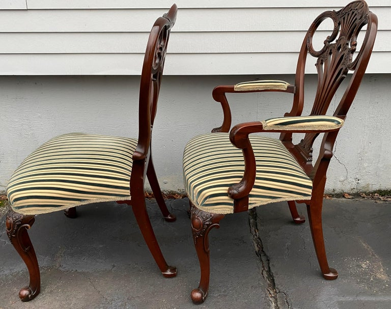 Set of Twelve Italian Custom Mahogany Queen Anne Style Upholstered Dining Chairs For Sale 1