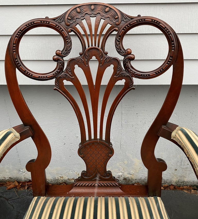 Set of Twelve Italian Custom Mahogany Queen Anne Style Upholstered Dining Chairs For Sale 3
