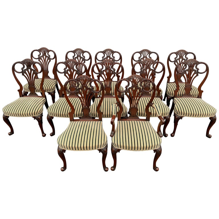 Set of Twelve Italian Custom Mahogany Queen Anne Style Upholstered Dining Chairs For Sale