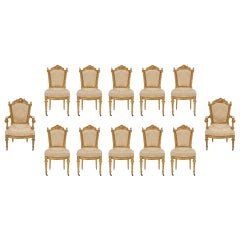 Set of Twelve Italian Early 19th Century Louis XVI Style Giltwood Dining Chairs