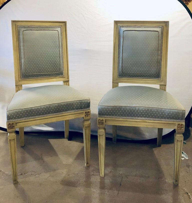 Hollywood Regency Set of Twelve Jansen Style Faux Linen Paint Decorated New Upholstery For Sale