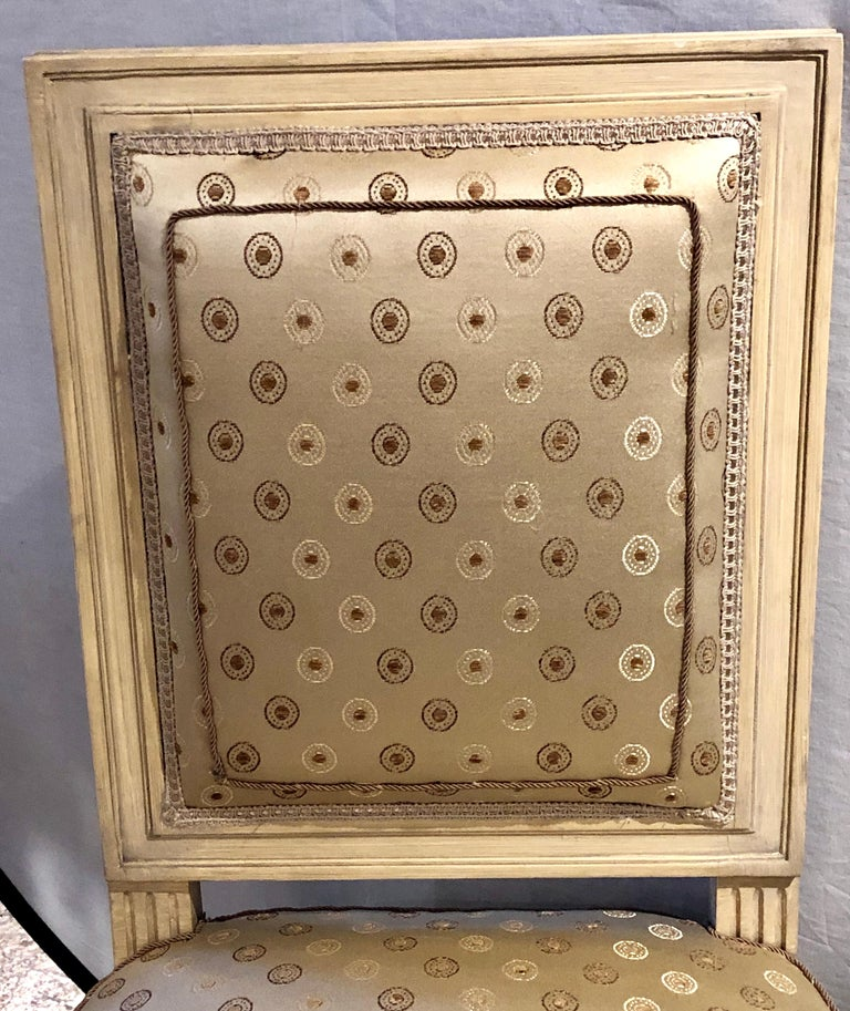Set of Twelve Jansen Style Paint Decorated & Gilt Louis XVI Style Dining Chairs For Sale 1