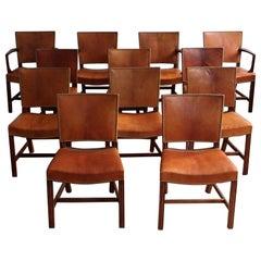 Set of Twelve Kaare Klint Red Chairs in Niger Leather