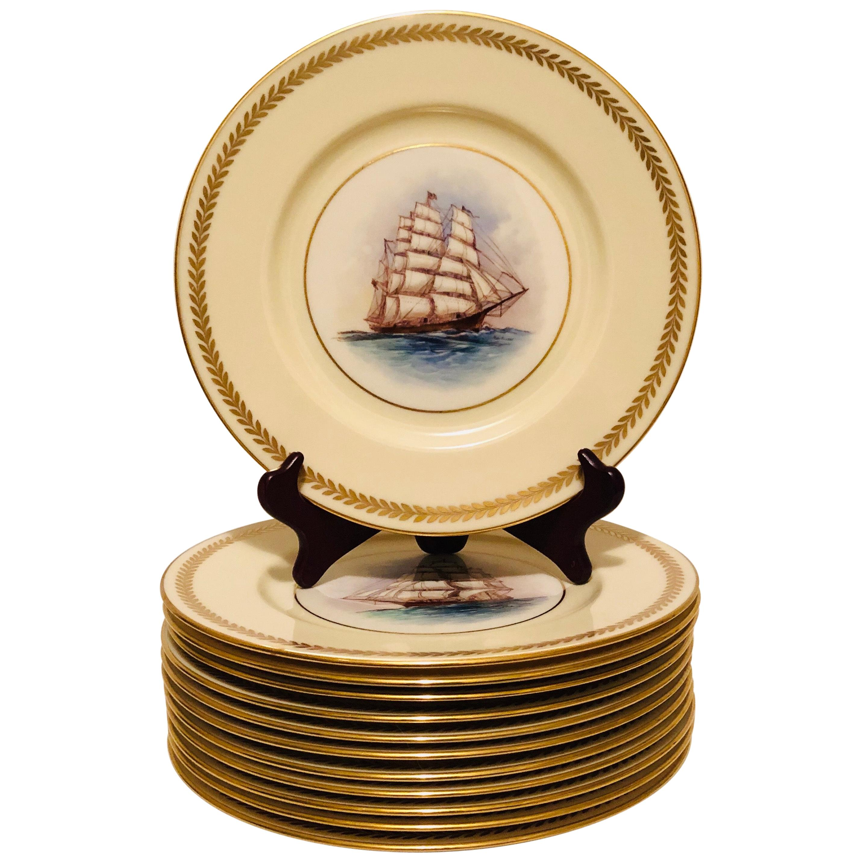 Set of Twelve Lenox Plates Each Hand Painted with a Different Tall Ship