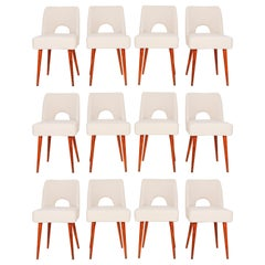 Set of Twelve Light Crème Boucle 'Shell' Chairs, 1960s