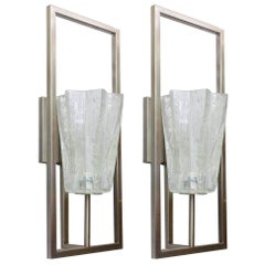 Set of Twelve Limited Edition Clear Murano Glass Sconces, 21st Century