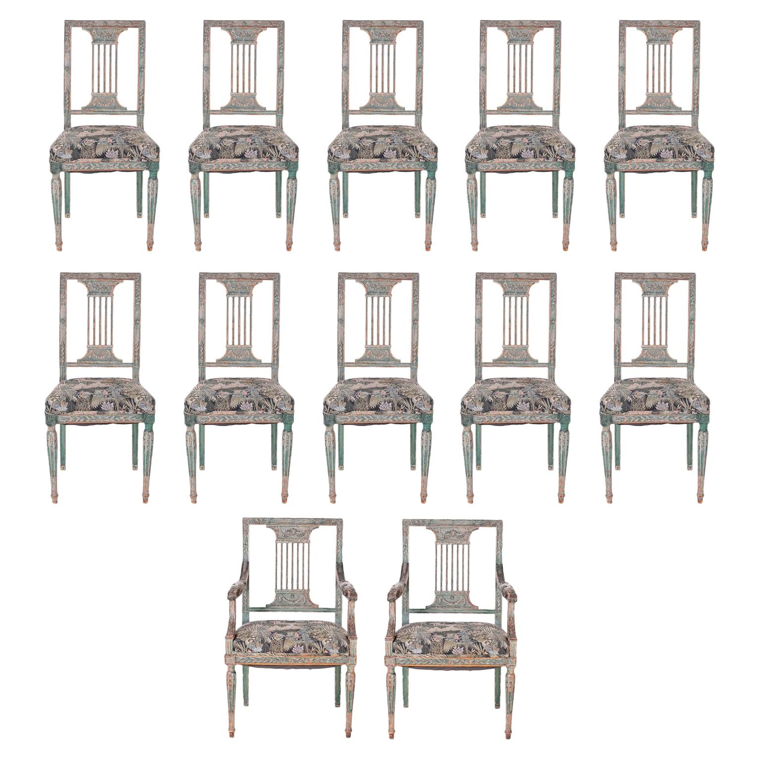 Set of Twelve Louis XVI Style Dining Chairs