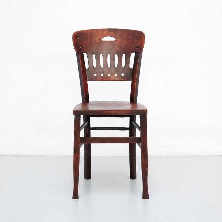Art Nouveau Set of Twelve Luterma Bistro Wood Chairs For Sale