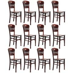 Set of Twelve Luterma Bistro Wood Chairs