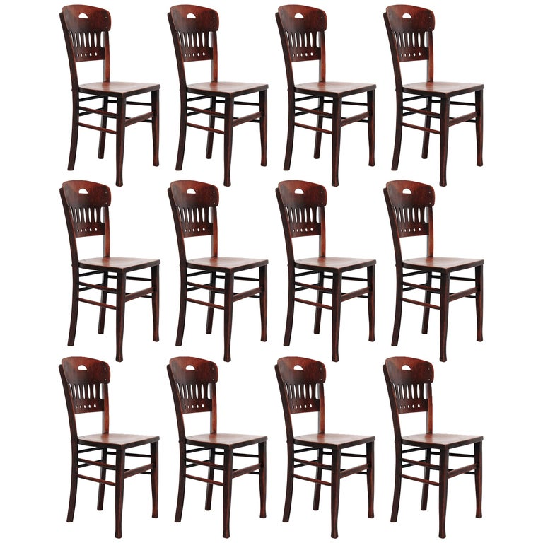 Set of Twelve Luterma Bistro Wood Chairs For Sale