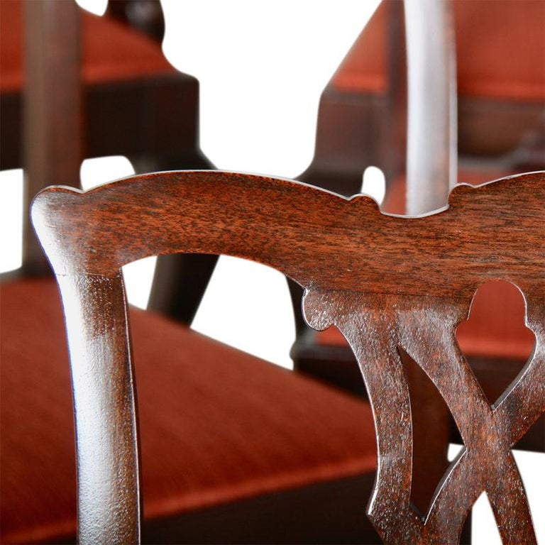 American Set of Twelve Mahogany Chippendale Dining Chairs For Sale