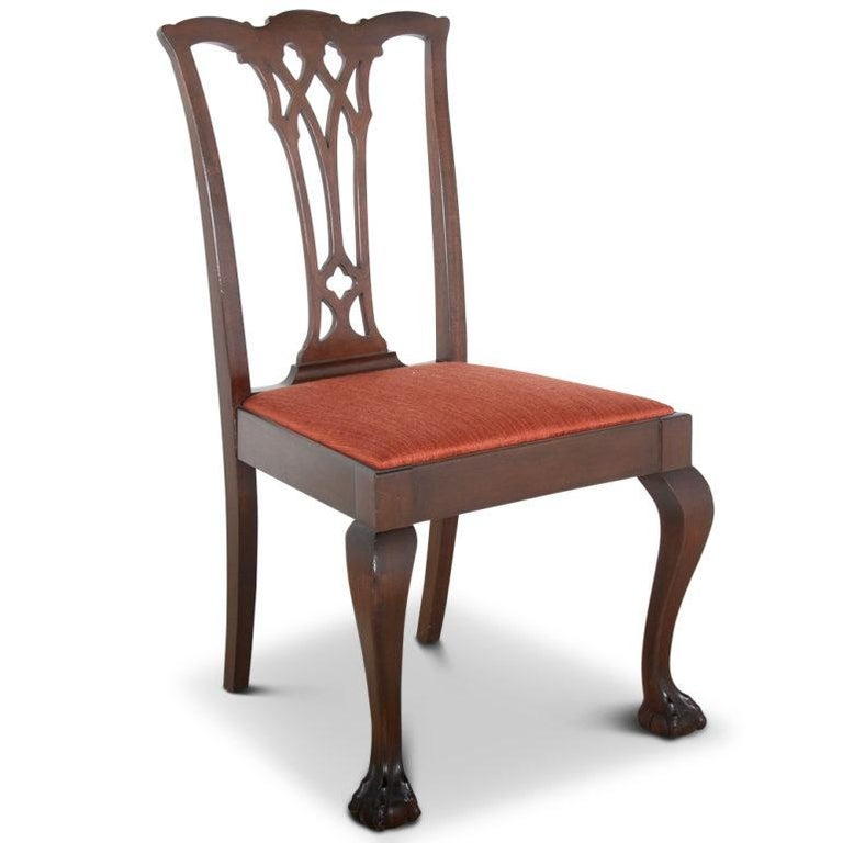 Early 20th Century Set of Twelve Mahogany Chippendale Dining Chairs For Sale