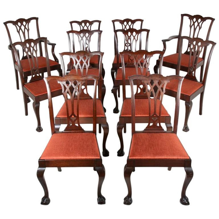 Set of Twelve Mahogany Chippendale Dining Chairs For Sale