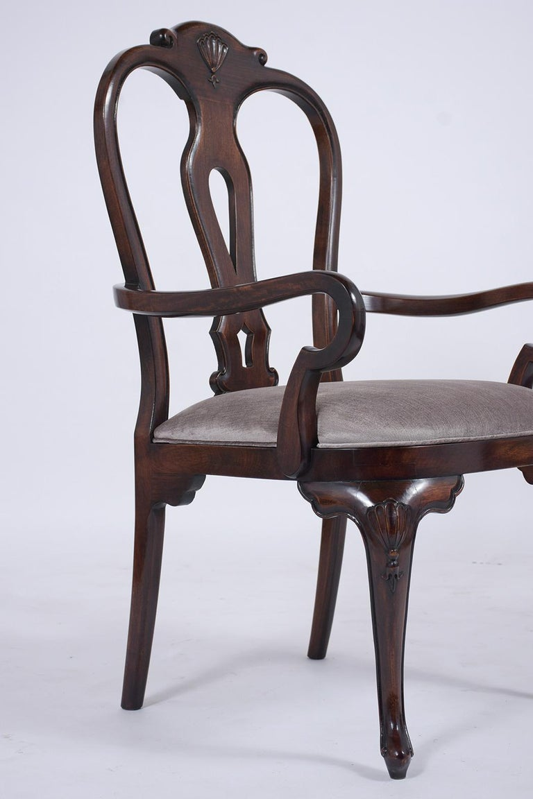 Velvet Vintage Set of Twelve Mahogany Dining Chairs For Sale