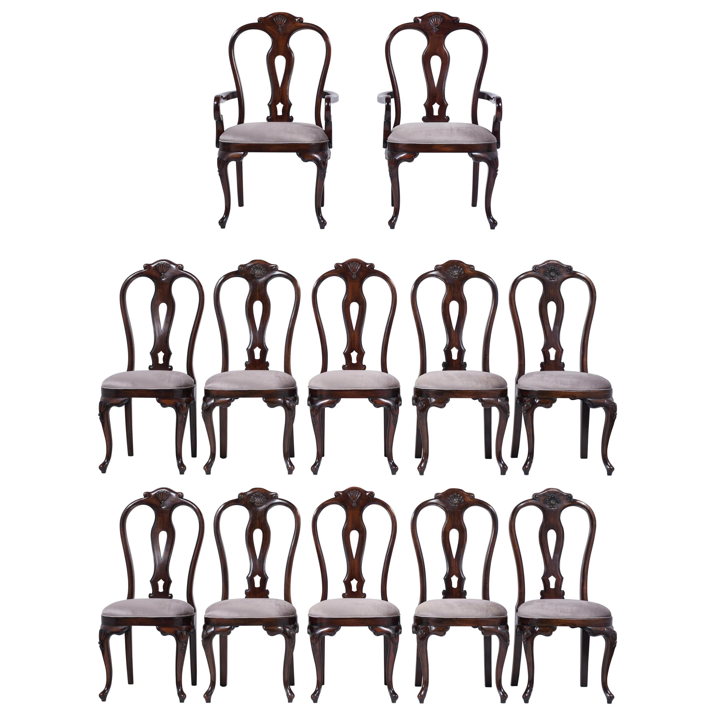 Vintage Set of Twelve Mahogany Dining Chairs