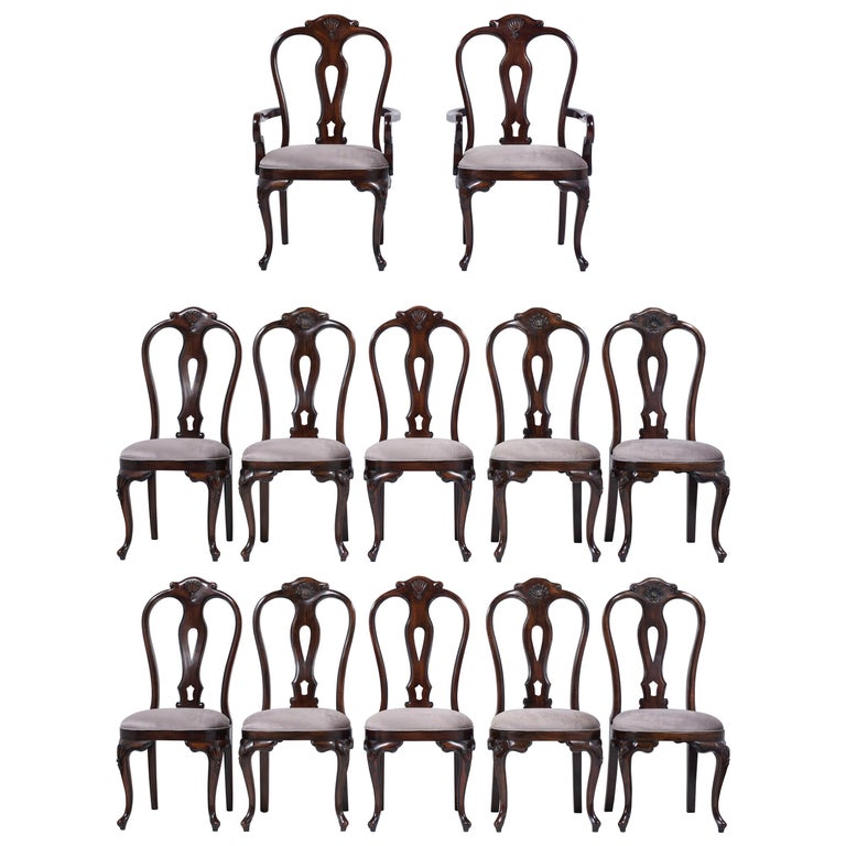 Vintage Set of Twelve Mahogany Dining Chairs For Sale