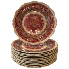 Set of Twelve Masons Vista Dinner/Service Plates