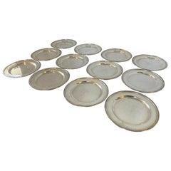 Set of Twelve Matching Elgin Sterling Silver Monogrammed Dishes Plates