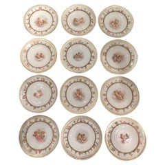 Set of Twelve Meissen Porcelain Plates with Putti and Heavenly Scenes