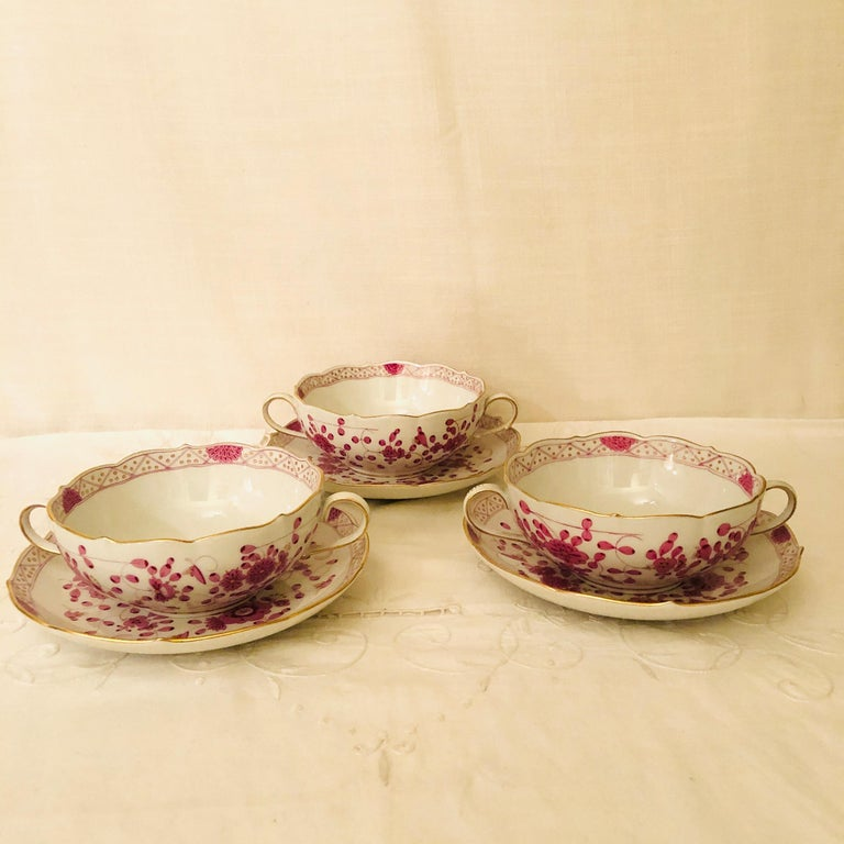 Hand-Painted Set of Twelve Meissen Purple Indian Cream Soups and Saucers