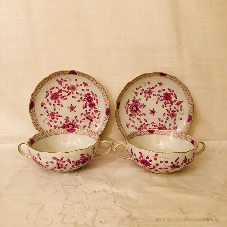 Set of Twelve Meissen Purple Indian Cream Soups and Saucers In Excellent Condition In Boston, MA