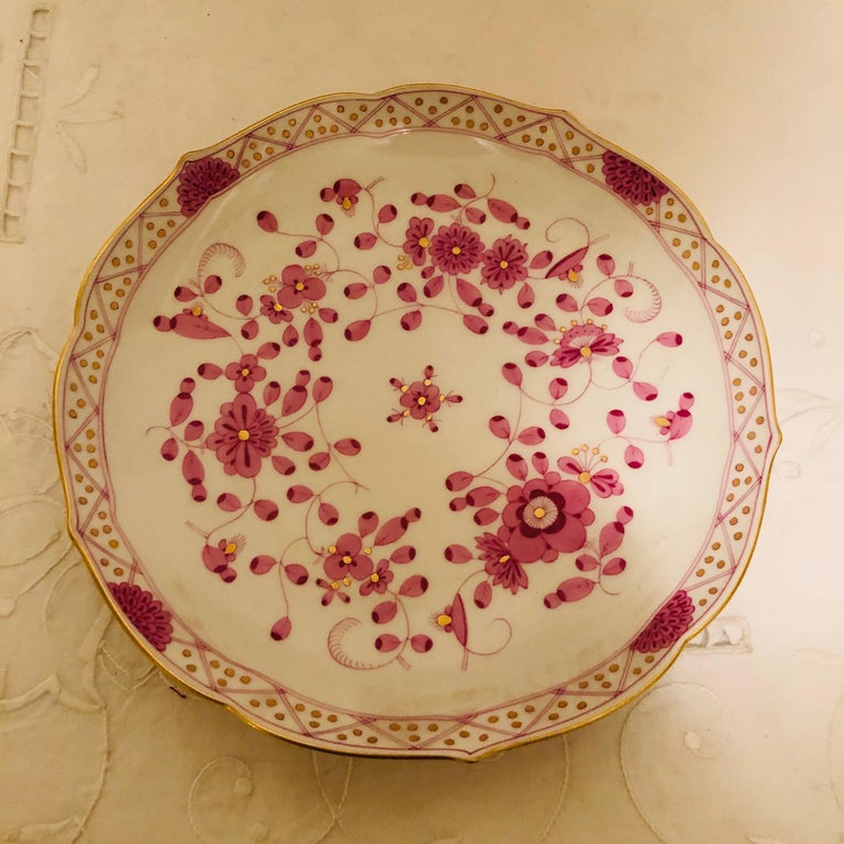 Porcelain Set of Twelve Meissen Purple Indian Cream Soups and Saucers