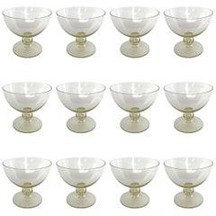 Set of Twelve Mid-20th Century Venetian Yellow Glass Coupes