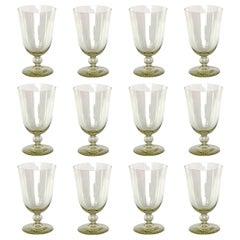 Set of Twelve Mid-20th Century Venetian Yellow Glass Goblets