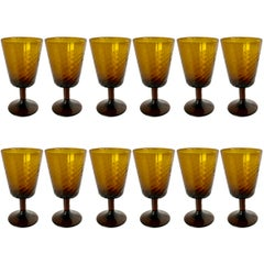 Set of Twelve Midcentury Italian Hand Blown Wine Glasses