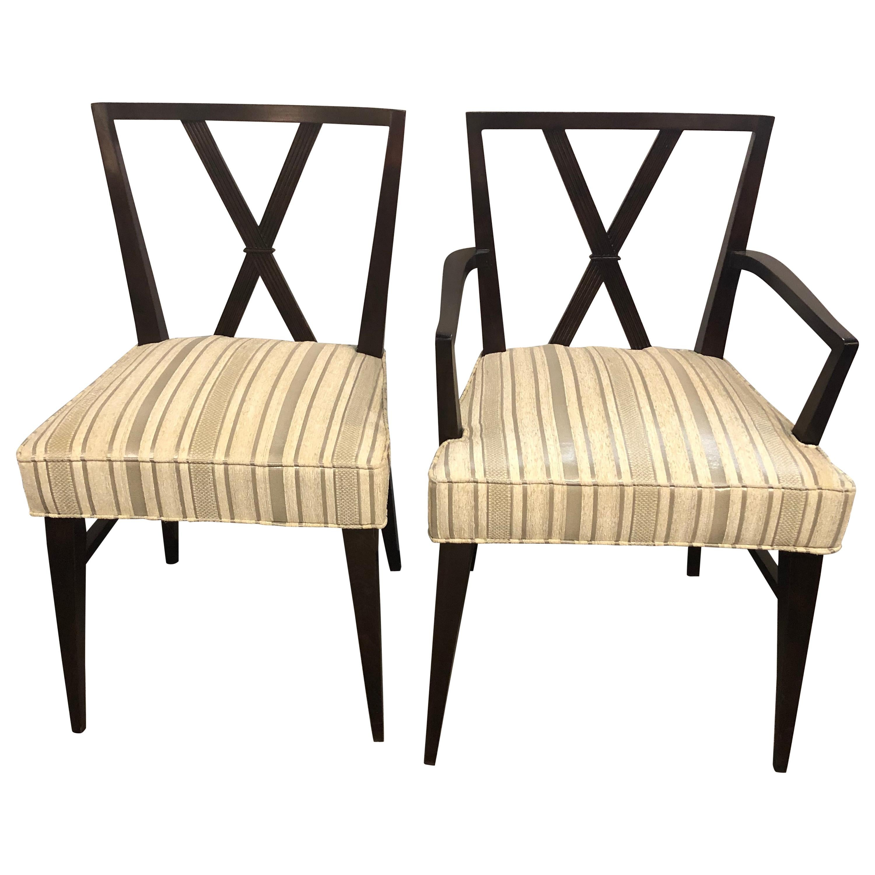 Set of Twelve Mid-Century Fully Refinished Dining Chairs