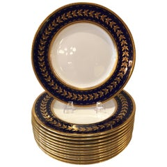 Set of Twelve Minton Tiffany & Co. Cobalt Blue & Gold Gilt Service/Dinner Plates