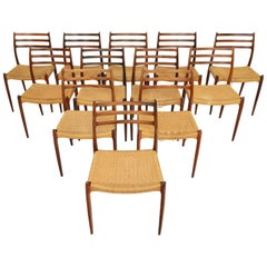 Set of Twelve Model 78 Niels Otto Moller Danish Dining Chairs in Rosewood