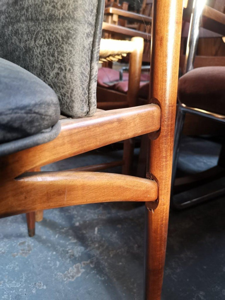 Set of 12 Mid Century Modern teak Dining Chairs with Decorative Brass Fittings For Sale 4