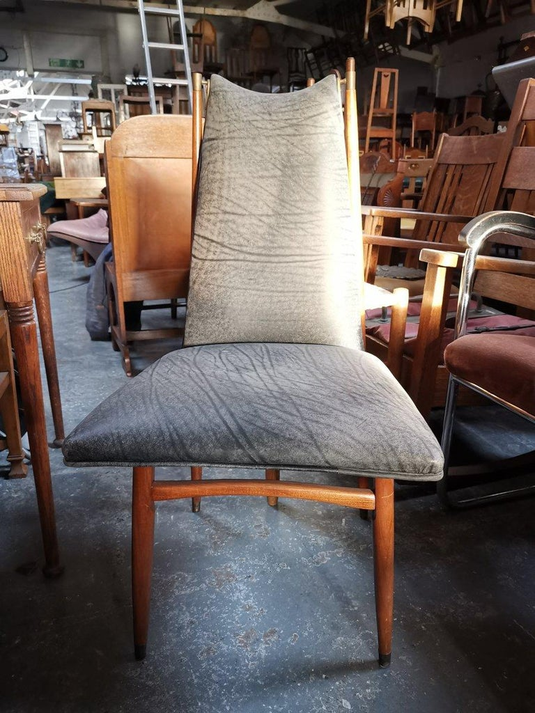 Cast Set of 12 Mid Century Modern teak Dining Chairs with Decorative Brass Fittings For Sale