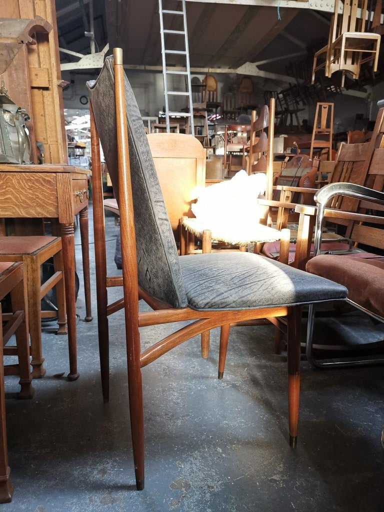 Mid-20th Century Set of 12 Mid Century Modern teak Dining Chairs with Decorative Brass Fittings For Sale