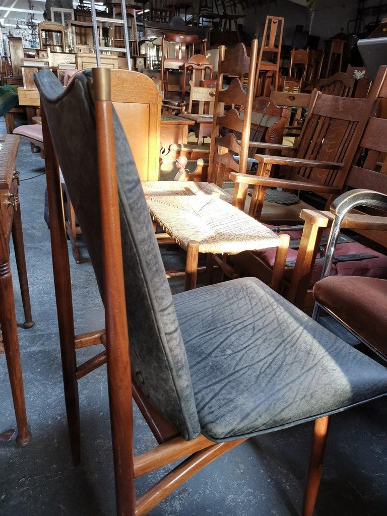 Set of 12 Mid Century Modern teak Dining Chairs with Decorative Brass Fittings For Sale 2