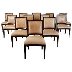 Set of Twelve Nancy Corzine Directoire Leather Dining Chairs