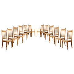 Set of Twelve Oak Arts and Crafts Dining Chairs