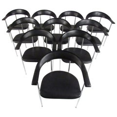 Set of Twelve P70 Chairs by Giancarlo Vegni for Fasem Italy