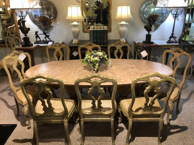 Set of Twelve Paint Decorated Italian Rococo Dining Room Chairs In Good Condition For Sale In Stamford, CT