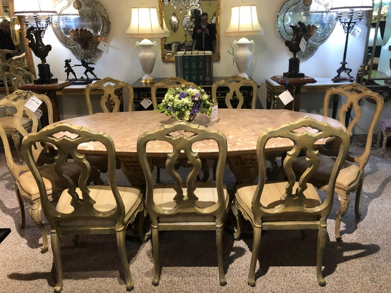 Set of Twelve Paint Decorated Italian Rococo Dining Room Chairs For Sale 1