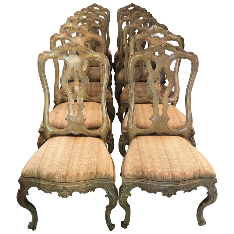 Set of Twelve Paint Decorated Italian Rococo Dining Room Chairs For Sale