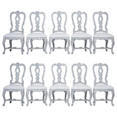 Set of Twelve Painted Italian Dining Chairs