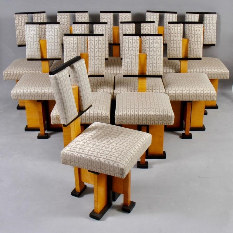 Modern Set of Twelve Pivot-Back Dining Chairs For Sale