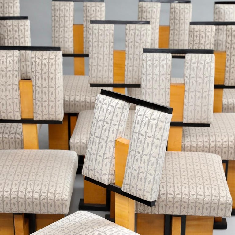 American Set of Twelve Pivot-Back Dining Chairs For Sale