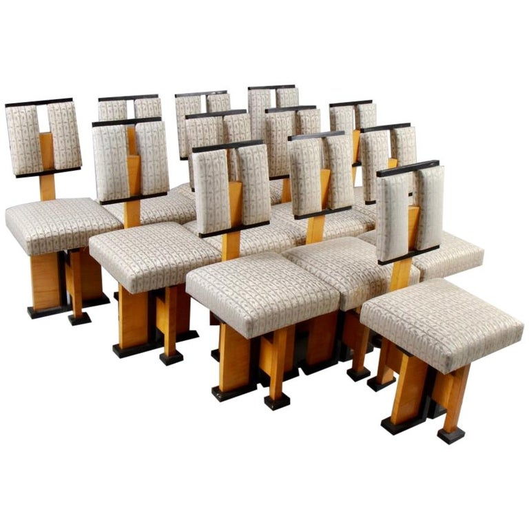 Set of Twelve Pivot-Back Dining Chairs For Sale