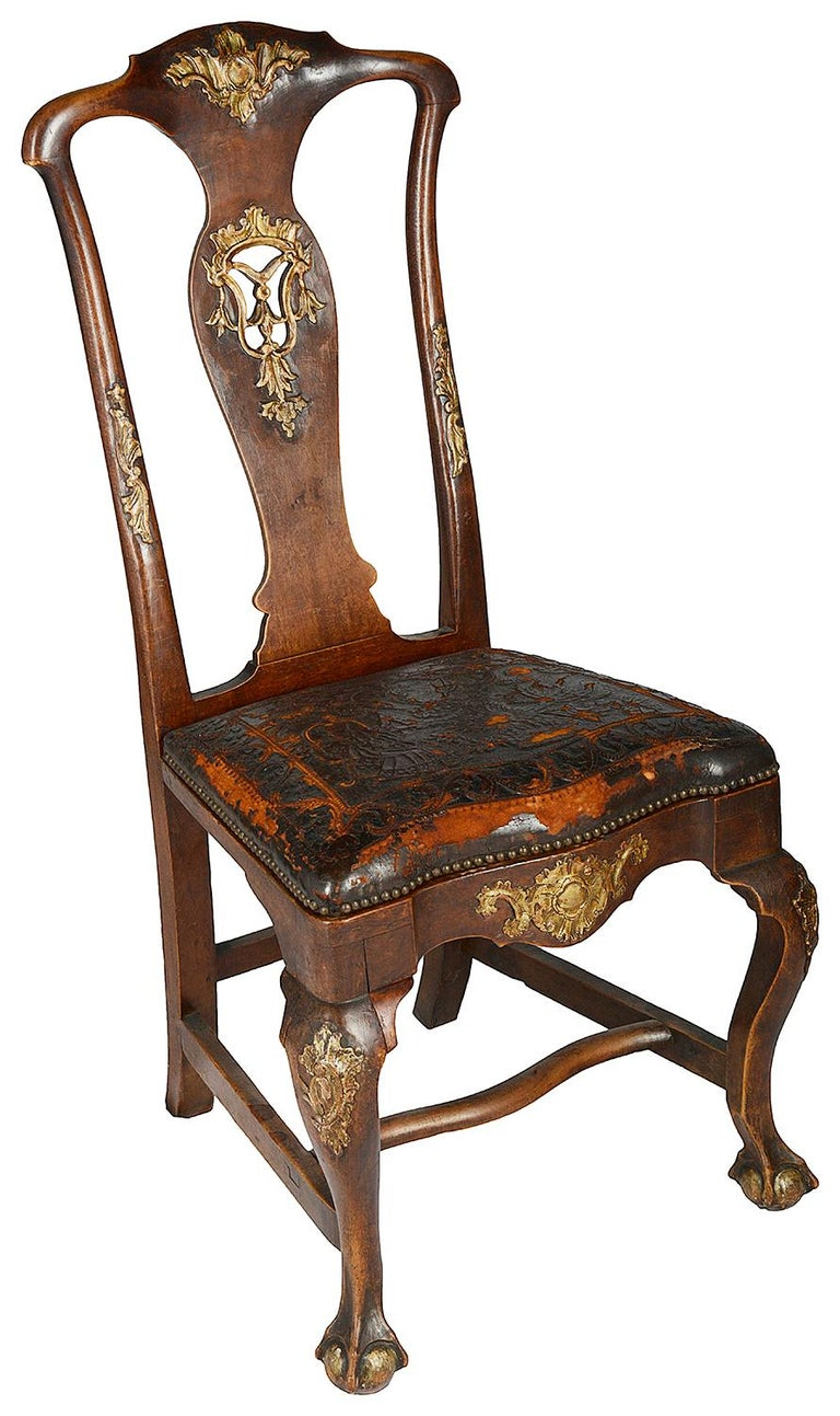 Hand-Carved Set of Twelve Portuguese 18th Century Dining Chairs For Sale